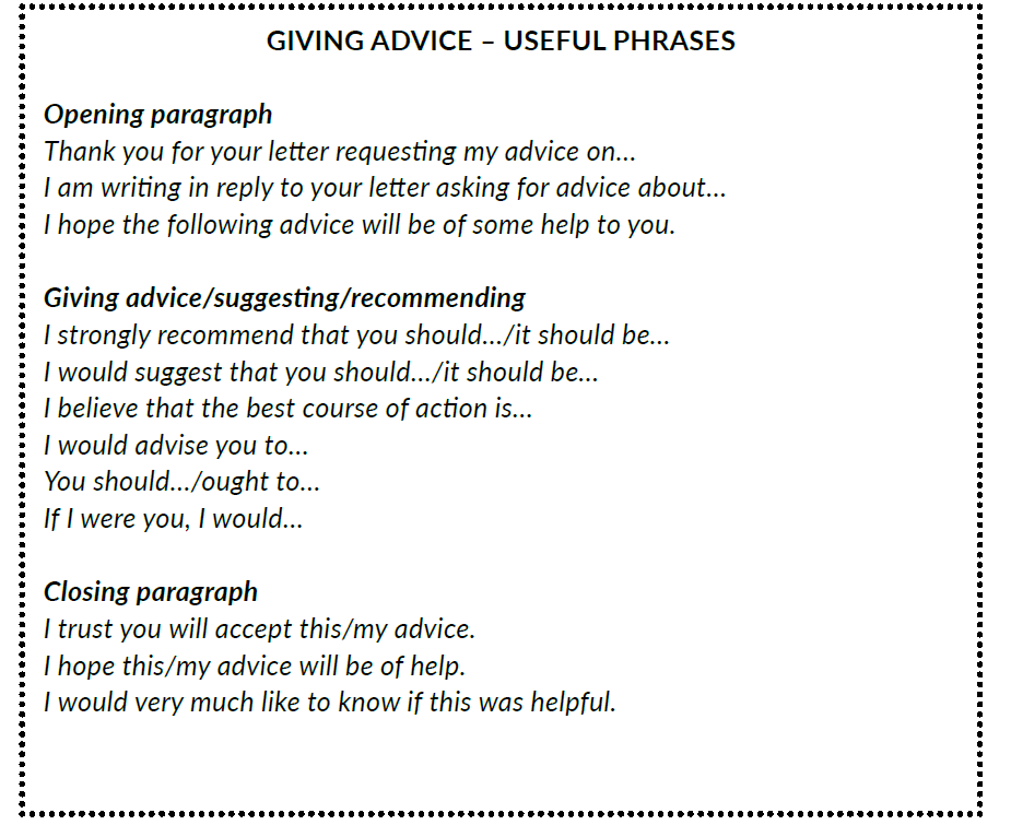 Formal letters and emails giving and requesting advice the phrases come from my book speaking and writing expert how to pass stanag 6001 english exam level 3 thecheapjerseys Gallery